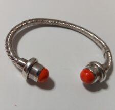 Coral Flexible Sterling Silver Bracelet