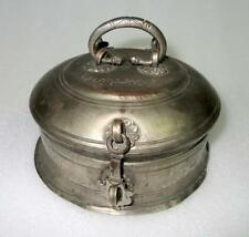 Antique Old Hand Engrave Brass Silver Plated Islamic Mughal Paandani Pot Box