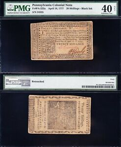 *SCARCE* HIGH GRADE Apr 10, 1777 20 Shillings Colonial Currency PMG 40/n! 24335
