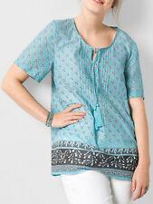 Sheego AQUA Pure Cotton Tie Neck Border Print Top Tunic Blouse Plus Size 14 - 32