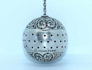 ANTIQUE VICTORIAN STERLING AMERICAN WHITING Co. REPOUSSE TEA BALL INFUSER