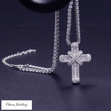 925 Solid Sterling Silver Cross Cubic Zirconia CZ Adjustable Necklace Jewellery