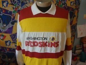 Vintage 80's Washington Redskins Nutmeg Mills Long Sleeve Polo NFL Shirt XL