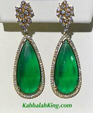 Yellow Gold Sterling Silver Green & White Sapphire Pear Halo Chandelier Earrings
