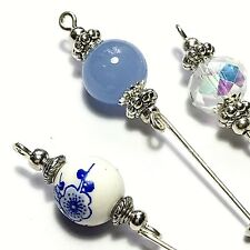 3 Silver Hat Pins Blue Crystal Glass Porcelain Vintage Style Pin + Protectors