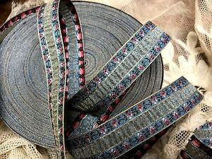 """Vintage Embroidered Trim Ruche Ribbon 3/4"""" Rayon Silk 1yd Made in France"""
