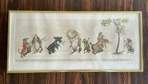 "Vtg Boris O'Klein Print Etching   Signed  - Dirty Dogs of Paris ""Le Malentendu!"""