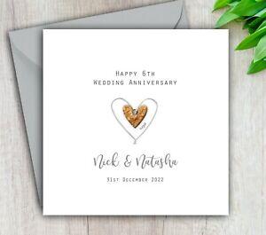 Personalised Handmade 6th Wedding Anniversary Card Sugar - Mum Dad Husband Wife