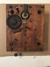 Antique Wooden Works Clock Movement Marsh Gilbert Carved Column Splat Terry Era