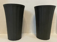"""RARE!!  Wedgwood Pair Of Black - Night And Day 4 3/4"""" Tall Vases"""