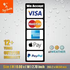 Credit Card Logo Visa Master Ae PayPal Apple Pay Cashier Door Vinyl Sticker Pos