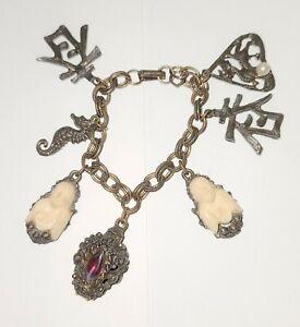 "Vintage Napier Charm Fob Asian Buddha Bracelet 7"""