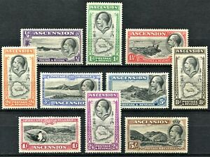Ascension 1934 pictorial issue set, SG 21 - 30, Mint Hinged, CV £120