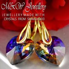 Gold Plated  925 Silver Earrings *HEART* Volcano 14mm Crystals From Swarovski®