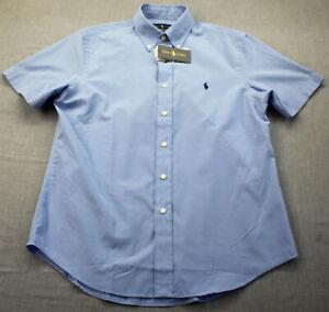 Ralph Lauren Polo Mens Blue w Pony Emblem Custom Fit SS Button Shirt  NWT M $90