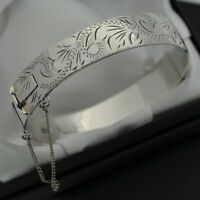 1973 Vintage Heavy Solid 925 Silver Scroll Design Hinged Bangle Bracelet