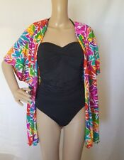 Oscar de la Renta Swimsuit Cover Up Sz M Vtg 80s Colorful Tropical Open Front