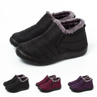 Women Fur Lined Snow Ankle Boots Lady Winter Warm Waterproof Slip On Flat Shoes