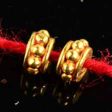 3.6mm 18k Solid Yellow Gold Fancy Bali Spacer Findings Beads PAIR