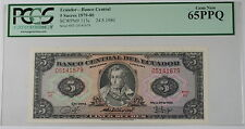 1979-80 Ecuador Banco Central 5 Sucres Note SCWPM# 113c PCGS 65 PPQ Gem New