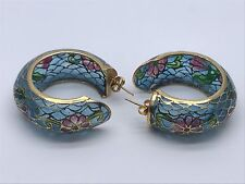 """VINTAGE CHINESE PLIQUE A JOUR ENAMEL STAINED GLASS CLOISONNE HOOP EARRINGS 1.75"""""""