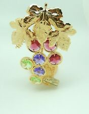 Candle/Tea Light Holder- Austrian crystals- Grapes- 24k gold plated- multi color
