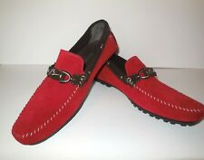 Bacco Bucci Suede Driving Shoes sz 11 1/2 11.5 FLAVIO Red Loafers