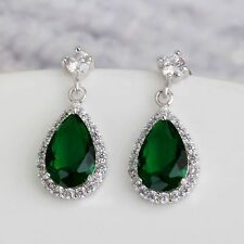 Teardrops Dangle Earrings Green Simulated Emerald Zirconia White Gold Plated