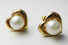 Vintage 9ct Yellow Gold Cultured Pearl Love Heart Earrings