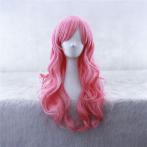 60cm Long Little Pony Long Pink Curly Cosplay Wig CC52+a wig cap