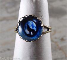 LTV Creation Wolf Eye Brass Ring Glass Cabochon Light Weight Adjustable Jewlery