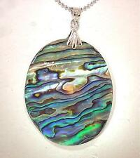 35mm New Zealand Oval Paua Abalone Pendant With 18k WGP Bead Necklace 18""