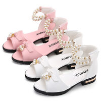 New Summer Kids Girls Casual Flowers Party Wedding Princess Sandals Dress Shoes