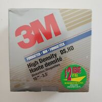 "3M High Density 3.5"" Diskettes 10 Pack IBM Formatted DS HD Double Sided SEALED"