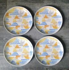 Lot of 4 Anthropologie Abstract Graphic Ceramic Plates Blue Yellow Gray