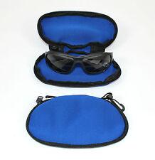Azul Acolchado Gafas De Sol Estuche / BOLSA CON TRANSPORTE BROCHE IDEAL PARA