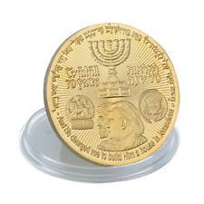New 2018 King Cyrus Donald Trump Gold Plated Coin Jewish Temple Jerusalem Israel