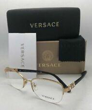 New VERSACE Rx-able Eyeglasses MOD.1230-B 1002 54-17 135 Semi Rimless Gold Black