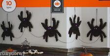 Halloween 10 Purple LED Lighted Spiders Indoor Prop Decoration NIB