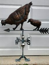 3D Chicken Chic Weathervane Ant. Copper Finish Rooster Weather Vane HandCrafted