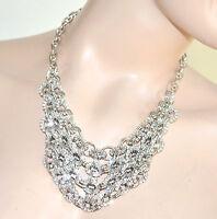 Collana ARGENTO donna girocollo multi catena anelli strass collier Necklace 80