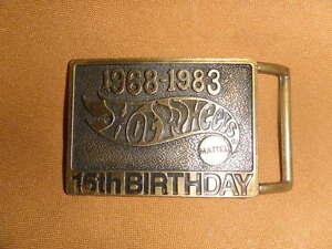 1968-1983 brass engraved 3D Hot Wheels 15th Birthday belt buckle cars