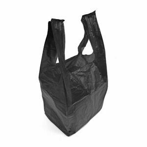 """500pcs x BLACK PLASTIC VEST CARRIER BAGS S2 BOTTLE BAG 7.5""""x13""""x18"""" - 20 MICRON"""