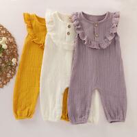 Newborn Kids Infant Baby Girls Solid Button Cotton Linen Romper Jumpsuit Outfits