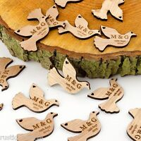 Personalised Wooden Dove Table Decorations. Rustic Vintage Bird Wedding Favours.