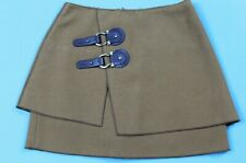 Anthropologie Meadow Rue Womens Felt Buckle Front Skirt Size 2 Brown EUC #14394