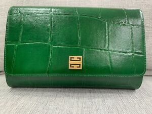 Vintage Genuine GIVENCHY Emerald Green Croc Leather Hangbag Purse Clutch