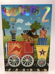 2ND BIRTHDAY CARD BOY AGE 2 Full colour inside, TRAIN DRIVER, PRESENTS, DOGS