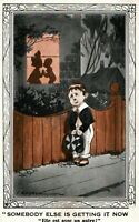 Peeping Tom Heart Broken Boy Dreaming w/ Top Hat Postcard Fred Spurgin Signed