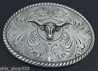 ♈ Old West steer Belt Buckle  Antique silver color ♈ Cowboy Sheriff .Western